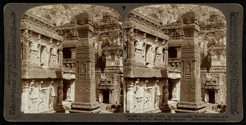 One of the world's marvels - beautiful Dravidian temple cut in solid rock, Ellora, India